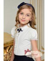 Блуза молочная школьная с коротким рукавом Viani / Виани / Модные Детки