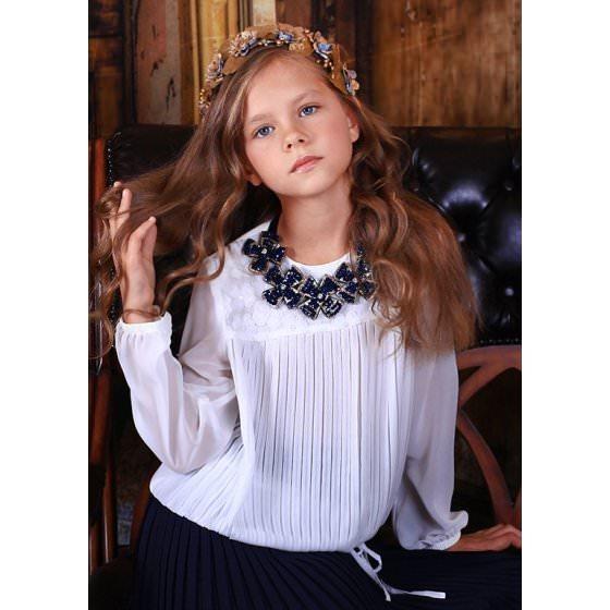 6c5a0ff6acd Белая блуза для школы MONE   МОНЕ. Нарядная для девочки.