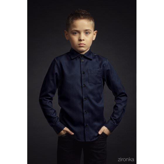 Рубашка школьная темно-синяя Зиронька / Zironka