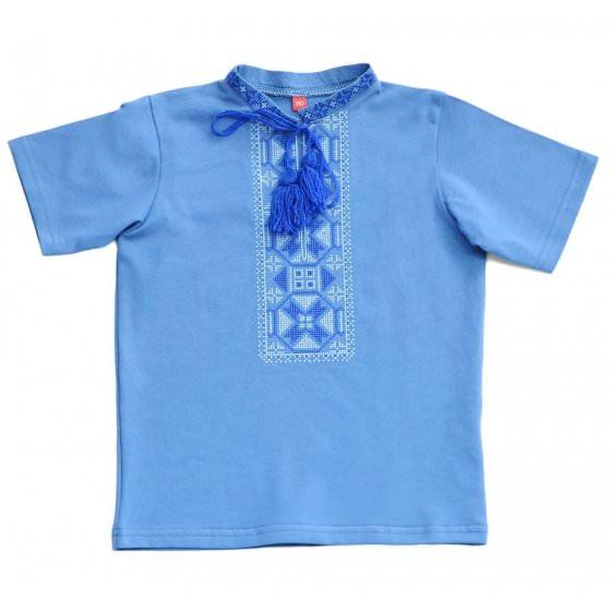 Голубая футболка - вышиванка для мальчика с орнаментом Piccolo / Пикколо