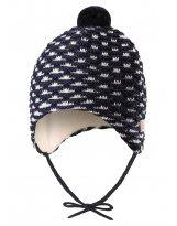 Зимняя темно-синяя шапка-бини для новорожденных Reima | Рейма Torkku 518418/6980