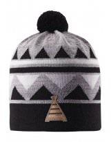Зимняя черная шапка-бини с бубоном Reima - Рейма Latsa 528568/9990