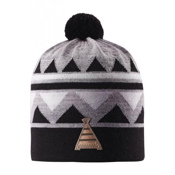 Зимняя черная шапка-бини с бубоном Reima | Рейма Latsa 528568/9990