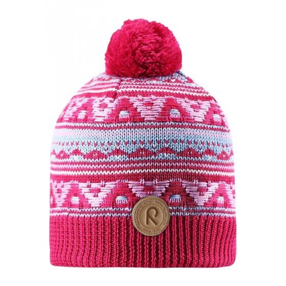 Зимняя малиновая шапка для подростков Reima | Рейма Neulanen 538026/3560