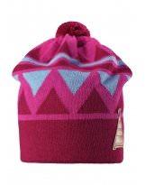 Зимняя малиновая шапка-бини с бубоном Reima - Рейма Latsa 528568/4620