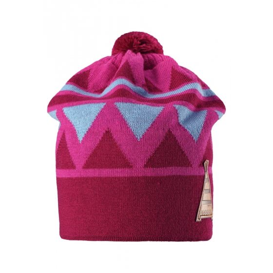 Зимняя малиновая шапка-бини с бубоном Reima | Рейма Latsa Latsa 528568/4620