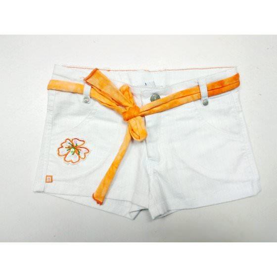 Хлопковые белые шорты с оранжевыми элементами Motion - Моушен
