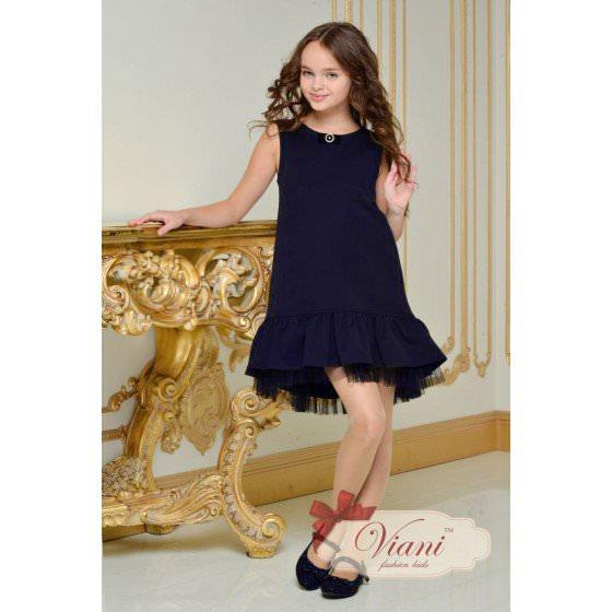 Платье с воланом для школы Viani / Виани Шк153/1 - 6-7, 7-8, 9-10, 11-12, 13-14,-1250грн выставил - НА какой цвет
