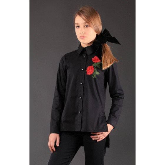 Черная школьная рубашка MONE / МОНЕ 1754-1