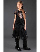 Черная футболка - блузка MONE / МОНЕ 1611-3