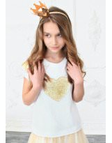 Белая футболка - блузка с пайетками MONE / МОНЕ 1611-1
