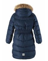 Удлиненное тёмно-синее зимнее пальто - пуховик Reima Satu 531302/6980