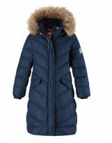 Удлиненное тёмно-синее зимнее пальто - пуховик Reima Satu 531302