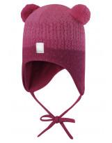 Малиновая шапка-бини зимняя с завязками Reima - Рейма 518477