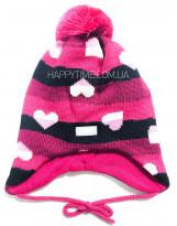Зимняя малиновая шапка с сердечками Lenne - Ленне NELLE 18378A