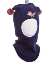 Шерстяной синий зимний шлем Лисичка Kivat - Киват Fox