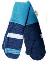 Шерстяные синие-полосатые варежки с манжетом KIVAT 158