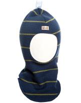 Шерстяной темно-синий полосатый зимний шлем Kivat - Киват