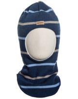 Шерстяной темно-синий зимний шлем в полоску Kivat - Киват 514/68