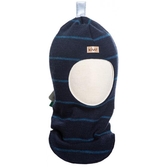 Шерстяной темно-синий полосатый зимний шлем Kivat - Киват 496-65-66
