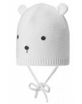 Демисезонная белая шапка с завязками бини Lassie 718760/0100