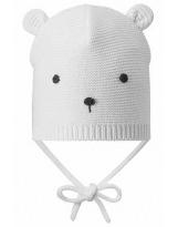 Демисезонная белая шапка с завязками бини Lassie 718760