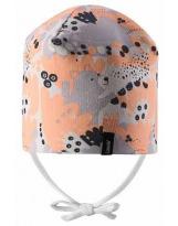 Демисезонная светло-коралловая шапка с завязками бини Lassie 718761
