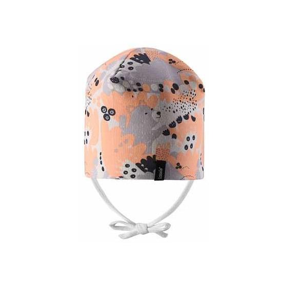 Демисезонная светло-коралловая шапка с завязками бини Lassie 718761/3121
