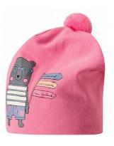 Демисезонная розовая шапка с принтом бини Lassie 718763/4180