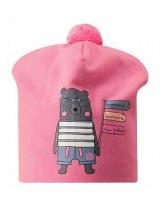 Демисезонная розовая шапка с принтом бини Lassie 718763