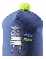 Демисезонная темно-синяя шапка с принтом бини Lassie 718763/6730