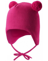 Малиновая шерстяная зимняя шапка-бини с завязками Reima TAHTO 518527/4650