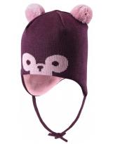 Шерстяная тёмно-бордовая зимняя шапка-бини с завязками Reima TAHTO 518527/4961