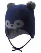 Шерстяная тёмно-синяя зимняя шапка-бини с завязками Reima TAHTO 518527/6981