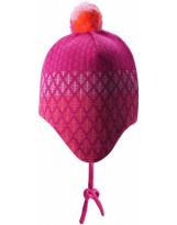 Малиновая шерстяная зимняя шапка-бини с завязками Reima Uljas 518531/4651