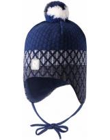 темно-синяя зимняя шапка-бини с завязками Reima Uljas 518531/6981