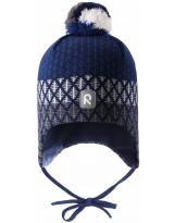 Малиновая темно-синяя зимняя шапка-бини с завязками Reima Uljas 518531/6981