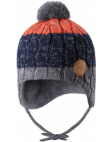 Шерстяная зимняя синяя шапка-бини с завязками Reima Nuutti 518534/6981