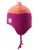 Малиновая шерстяная зимняя шапка-бини с завязками Reima Ainoa 518538/4651