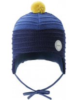 Шерстяная темно-синяя зимняя шапка-бини с завязками Reima Ainoa 518538/6981