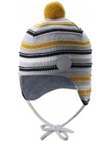 Шерстяная серо-желтая зимняя шапка-бини с завязками Reima Ainoa 518538/6981
