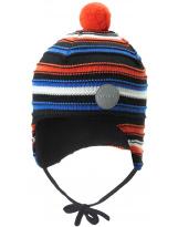 Шерстяная черно-оранжевая зимняя шапка-бини с завязками Reima Ainoa 518538/6981