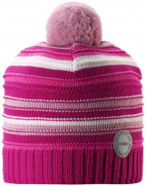 Малиново-белая шерстяная зимняя шапка-бини Reima Aapa 538080/4652